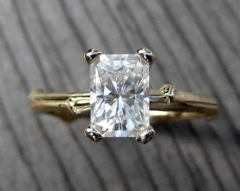Emerald Cut Moissanite Twig Engagement Ring: Yellow, White, or Rose Gold, 1.2ct Forever Brilliant™