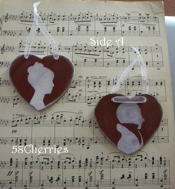 Jane Austen Style Silhouette Heart Ornaments - Red and White - Ladies and Gentlemen - Shabby Chic Grubby Prim - Christmas Valentine