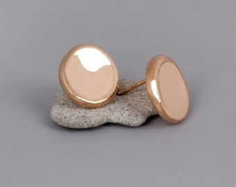 Rose Gold Pebbles Studs, Large Stud Earrings, Circle Studs, Modern Jewelry, Rose Gold Statement Earrings, Coin Earrings, Pebble Stud Earring