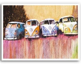 """13x19"""" Volkswagen Bus Art Print """"Purple Haze"""""""