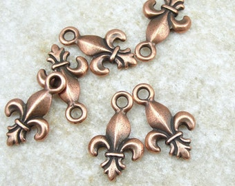 Copper Charms 19mm Fleur de Lis Charms by TierraCast Pewter - Antique Copper French Lily Charms  (P78)