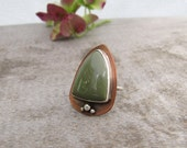 Rustic Mixed Metal Ring. Triangle Imperial Jasper Ring. Olive Green Copper Sterling Silver Ring Size 5