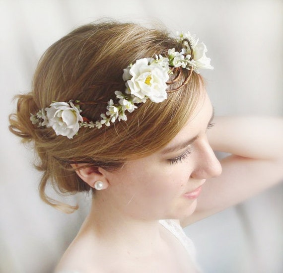 Flowers For Hair Wedding Ireland : White flower crown rose hairpiece bridal headpiece