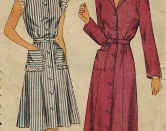 1940s Simplicity 4718 Vintage Sewing Pattern Misses Housedress, Housecoat, Shirtwaist Dress, Spectator Dress Size 14 Bust 32