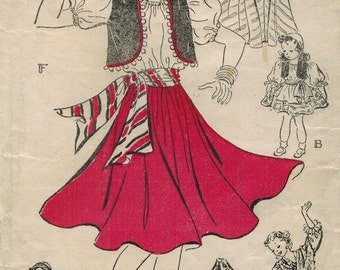 1930s New York 1347 Vintage Sewing Pattern Ethnic Masquerade Costumes Spanish, Carmen, Neapolitan, Andalusian, Castilian, Gypsy Size Bust 34