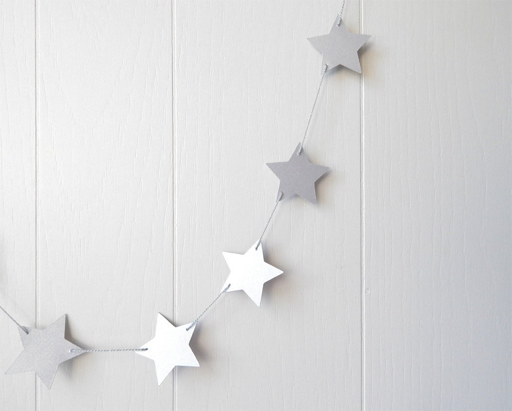 Silver star garland party decor photo prop