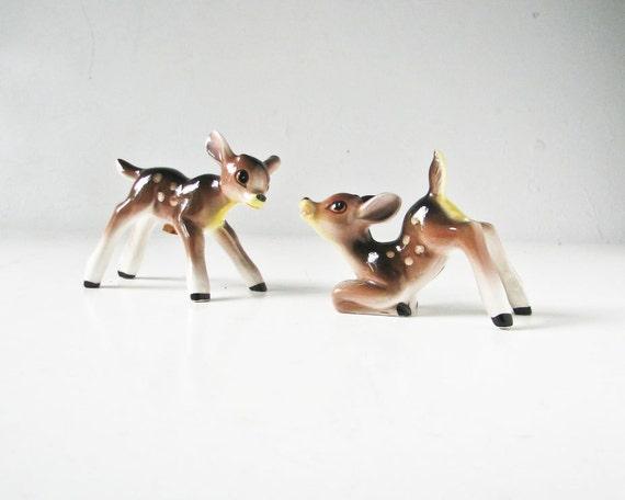 Vintage Deer - Ceramic Deer Salt Pepper - Spotted Fawns