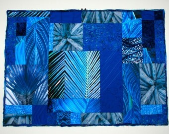 Blue Abstract Quilted Wall Hanging Fiber Art