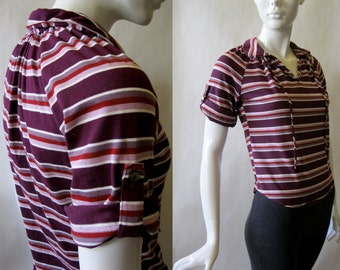1970's collar tee, striped in shades of purple, rose, and berry red, small / medium
