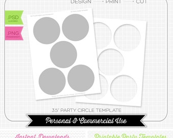 3.5 inch Party Circle Template - INSTANT DOWNLOAD - DIY party printable
