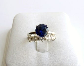 Wedding Ring Set Sapphire White Topaz Ring Sterling Silver September Birthstone Lab Created Made To Order