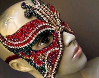 Art Mask Crystal Butterfly Mask Red Emerald Mask Swarovski Mask Cosplay Mask