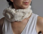 Hand knit braided cable neckwarmer textured collar designer choker with huge button in natural cream ivory - Pure as a Snow - Gift under 50
