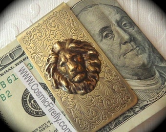 Brass Lion Money Clip Steampunk Money Clip Gothic Victorian Vintage Inspired Antiqued Brass Men's Accessories Men's Gifts