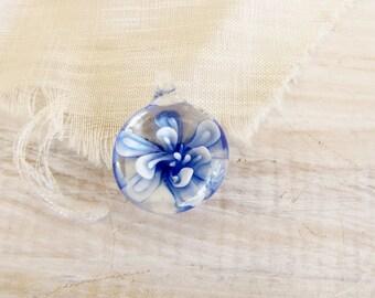 Glass Flower Bead Light Dark  Blue Blue Flower Glass pendant Lampwork