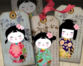 Printable Download KOKESHI GIFT TAGS traditional dolls, Japanese-style party, Digital Collage Sheet, washi paper, jewelry holders  ArtCult