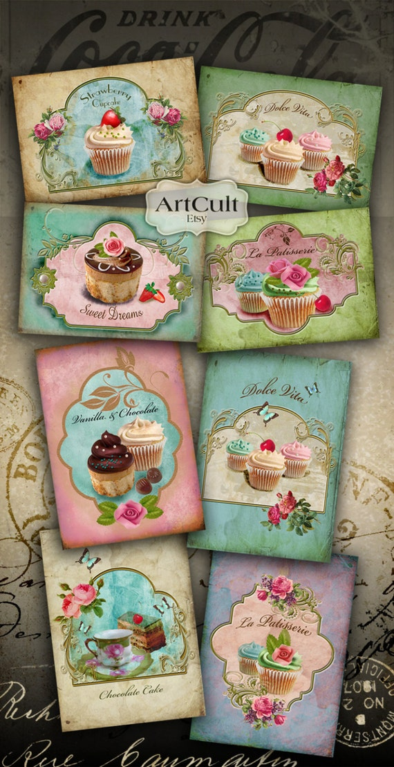 Printable Download SWEET CUPCAKES Gift Tags Digital Collage Sheet Greeting cards labels decoupage scrapbook paper ArtCult graphic designs