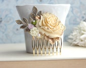 Vintage Ivory Gold Rose, Lavender Purple, Meadow Forest Green Wedding Comb. Ivory Rose Flower Brass Sprig Leaf, Wedding Hair Accessories