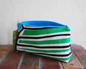 Medium Fabric Zippered Pouch / Bag with Flat Bottom & Full Lining - Multicolored Hatch Fabric with Turquoise Blue Lining
