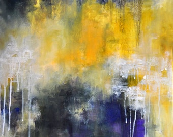 Abstract Painting Original Modern Blue Yellow Art 20x24""
