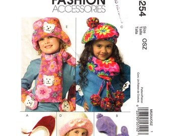 Girls Warm Hats Mittens & Scarves Pattern Accessories Pattern McCalls 5254 Beret Brim Hats Applique Girls Sewing Pattern Size S M L UNCUT