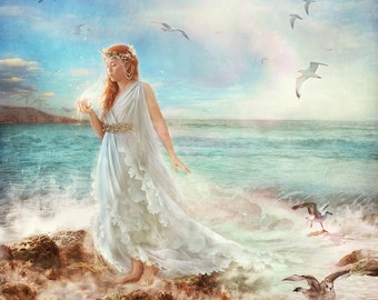 Maiden of Seafoam, Fairytale Art Print, Choose Size, Red Haired Goddess Water Nymph Sea Siren