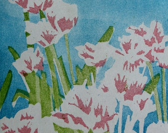 Monet's Tulips: wall art, home decor limited edition hand-pulled etching, tulip flowers, pink and blue