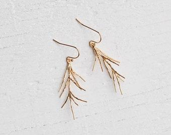 Gold Twig Earrings Woodland EARRINGS Forest Earrings Rustic Pine Needle