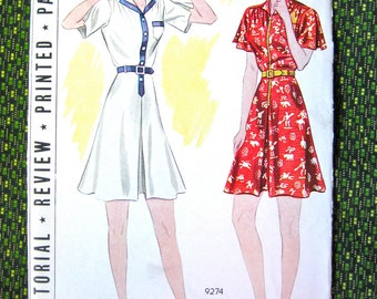 Uncut 1930s One-Piece Dress pattern playsuit culotte frock inverted pleats sewing pattern by Pictorial Review 9274  Bust 34  Hip 37 inches
