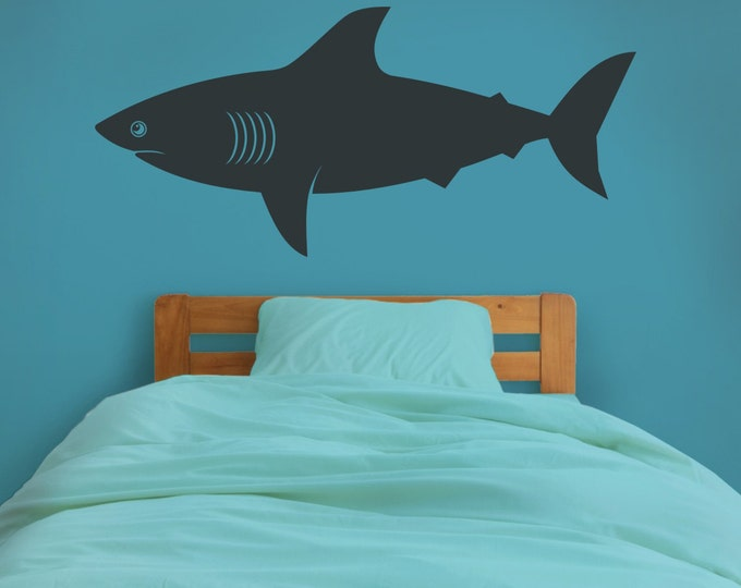 shark wall decal, shark vinyl sticker art, undersea, marine life wall decal, shark week, FREE SHIPPING