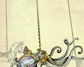 Steampunk Art Print Carousel  - Octopus Art  - Fine Art Print  - giclée Fantasy Art Print - Steampunk Art - Victorian Art - turquoise Pink