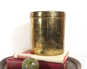 Vintage Brass Box with Lid Round Metal Canister Storage