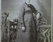 Pregnant Young Lady in Black Ruffled Fashion Dress -Antique Cabinet Photo-1800's
