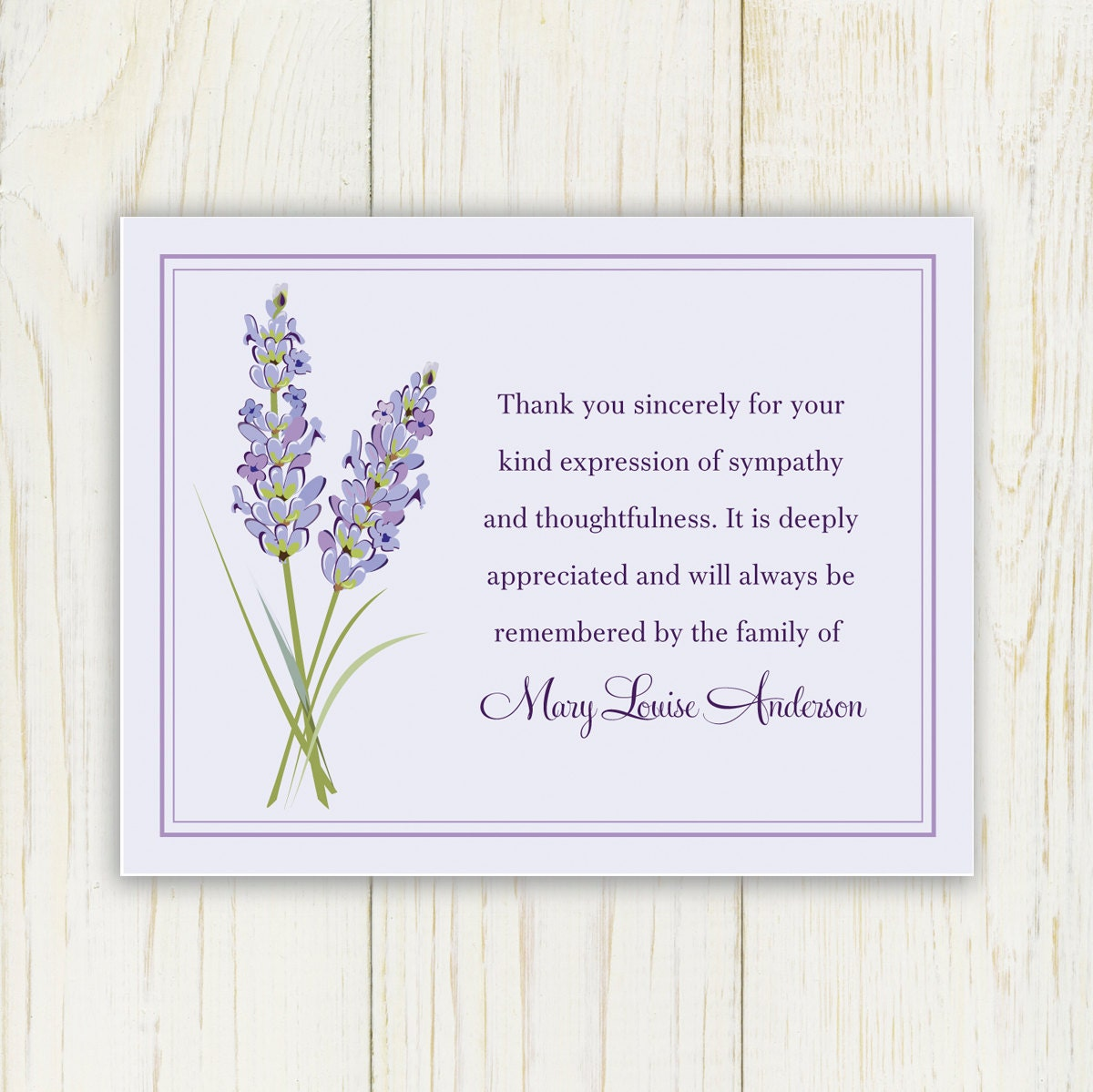 Lavendar Funeral Thank You Card Printable Digital file – Sympathy Thank You Notes