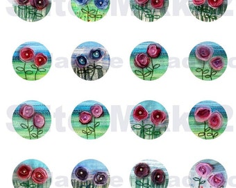 1 inch circles - Digital collage sheet  flowers  instant download
