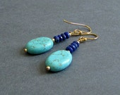 "Gemstone Dangle Earrings, Blue Lapis and Turquoise Magnesite, Yellow Gold Plated or Sterling Silver Metal, ""Ascend"""