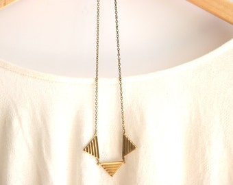 Geometric Brass Triangle Necklace //  Tribal Gold Necklace // Gold Geometric Bunting Necklace // Bridesmaid Necklaces