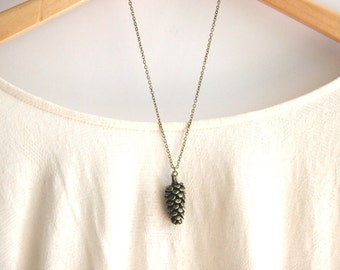 Large Brass Woodland Pinecone Necklace // Bridesmaid Necklace // Rustic Wedding Necklace