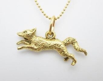 Fox Necklace, Fox Charm Necklace, Animal Charms, Nature Themed Jewelry, Running Fox Charm, Gold Fox Necklace B042