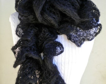 Scarf Black Lace Ruffle Kid Mohair Silk Blend Kidsilk Creation Wicked