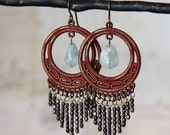 Red Fringe Earrings - Handpainted Brass Chandeliers with Black Bead Fringe and Aquamarine