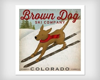 FREE PERSONALIZATION Ski Dog Print by Ryan Fowler Signed