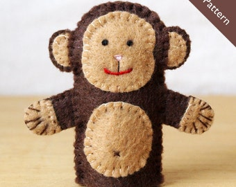 Pattern, felt finger puppet pattern, monkey finger puppet pattern