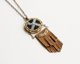 Leather Fringe Necklace - beaded medallion, southwestern jewelry, black and silver mens necklace leather, festival jewelry, clearance sale