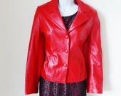 Blazer - Red Leather - Jacket - Italian - ALESSANDRA -90s - Womens - Gorgeous - Jacket - Cherry Lipstick - Butter Soft  - Recycled - UNIQUE