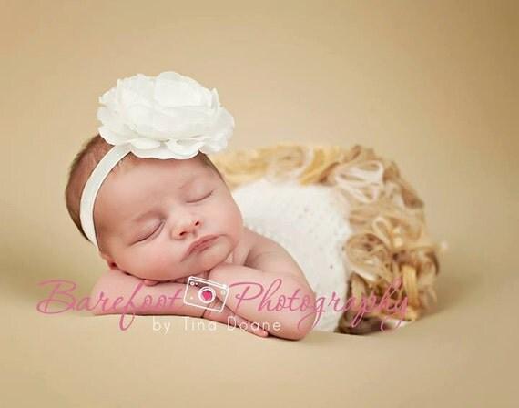 White Flower Headband, Silk Flower w/ Pearl & Crystal Center Headband or Hair Clip, Baptism Christening Wedding, Baby Child Girls Headband