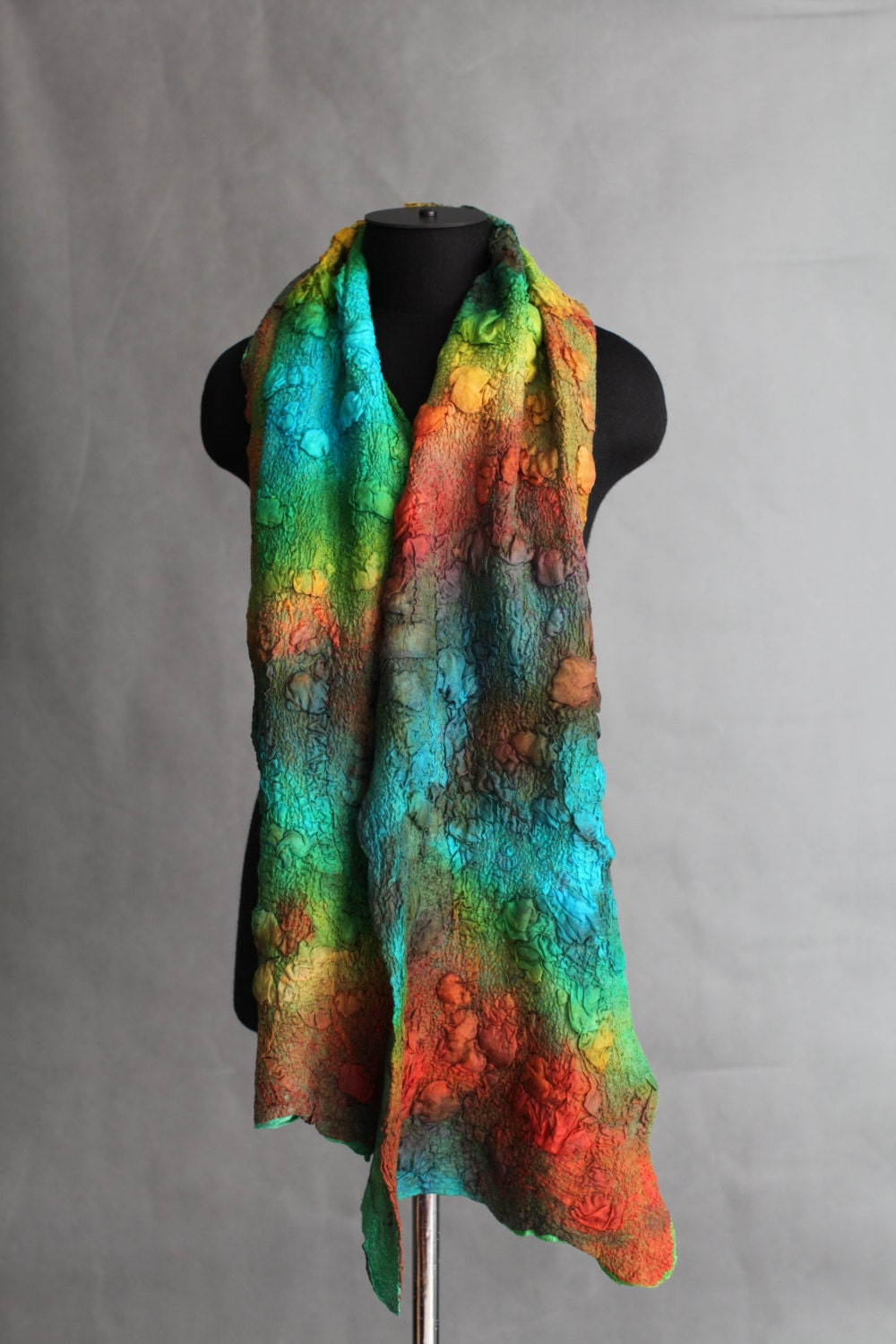 nuno felted scarf textured merino wool silk scarves