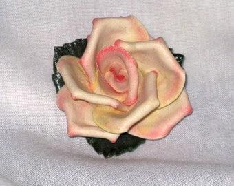 Vintage Pink Rose Floral Brooch Pin (B-3-6)