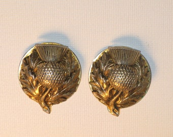 Vintage Scottish Thistle Brass Tone Clip Earrings (E-1-6)