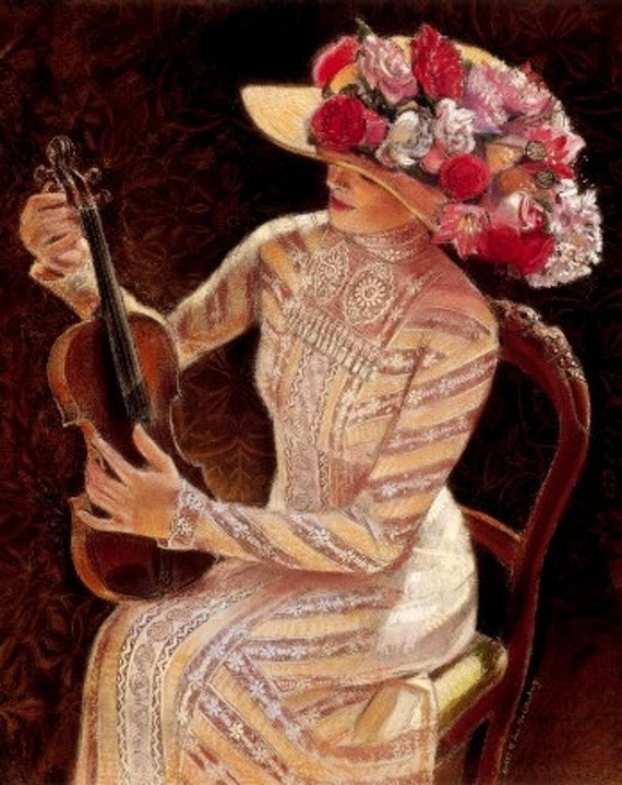 Victorian Lady Print portrait art fashion woman violin music
